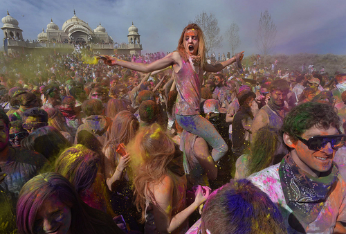 Scott Sommerdorf   |  The Salt Lake Tribune The Holi festival of colors at the Sri Radha Krishna Temple in Spanish Fork, Saturday, March 29, 2014. Revelers celebrate the arrival of spring on the grounds of the temple.