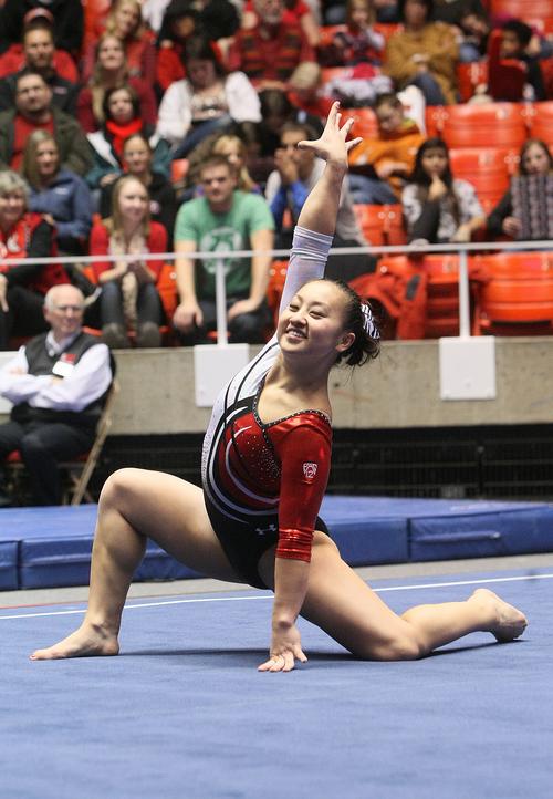 Scott Sommerdorf   |  The Salt Lake Tribune Utah gymnast Corrie Lothrop during her floor exercise routine  during the Utah Red Rocks preview at the Huntsman Center, Friday December 13 2013.