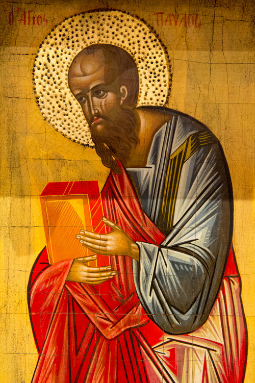 "Trent Nelson  |  The Salt Lake Tribune St. Paul as depicted in an icon at St. Paul's Episcopal Church in Salt Lake City, Wednesday, March 26, 2014. Paul wrote to the Corinthians about becoming ""fools for Christ."""