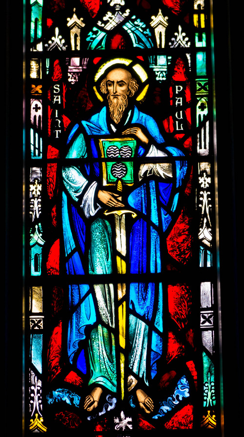 "Trent Nelson  |  The Salt Lake Tribune St. Paul as depicted in a stained-glass window at St. Paul's Episcopal Church in Salt Lake City, Wednesday, March 26, 2014.  Paul wrote to the Corinthians about becoming ""fools for Christ."""