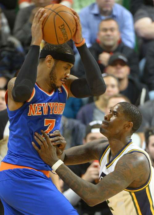 Rick Egan  |  The Salt Lake Tribune  New York Knicks forward Carmelo Anthony (7) works on Utah Jazz forward Marvin Williams (2) in NBA action, Utah Jazz vs. the New York Knicks, at EnergySolutions arena, Monday, March 31, 2014