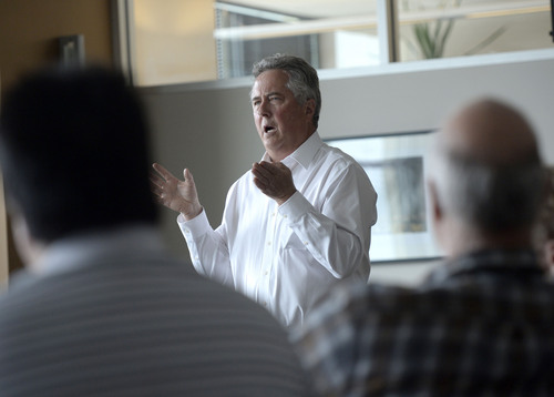 Al Hartmann  |  The Salt Lake Tribune Salt Lake Tribune Editor and Publisher Terry Orme  holds a meeting with staff members of The Salt Lake Tribune on Wednesday, April 2, to discuss  changes at Digital First Media, the paper's owner.