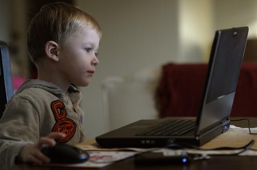 Rick Egan    The Salt Lake Tribune   Five-year-old Ashton VanLeeuwen  works on the UPSTART preschool software program at his home in West Jordan, Wednesday, January 22, 2014.