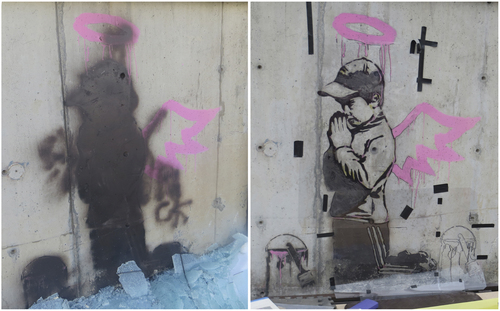 Jay Hamburger | Park Record                                The Banksy angel work on Main Street, seen on the left shortly after it was vandalized about Jan. 1, 2014. On the right is the art on March 29, 2014, during its restoration. Deborah Uhl, a painting conservator hired by the building owner, also used white spray paint in spots where Banksy had white spray paint.