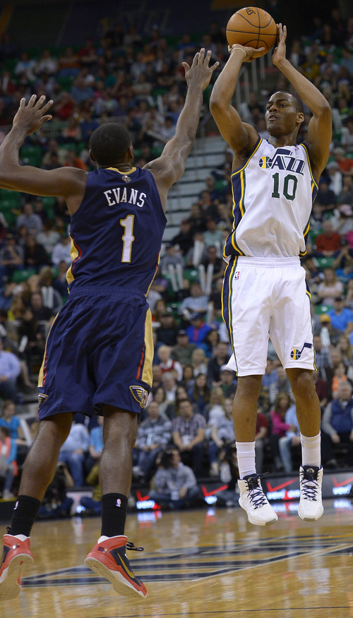 Leah Hogsten  |  The Salt Lake Tribune Utah Jazz guard Alec Burks (10) had 21 points for the night. The Utah Jazz defeated the New Orleans Pelicans 100-96 during their game Friday, April 4, 2014 at Energy Solutions Arena.