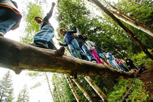 """Tribune file photo  One student utters, """"I don't want to die, I have a Playstation at home"""" as  Students from Granite School District's James E. Moss Elementary walk across a log during one of the hikes of the Mill Hollow Experience in this 2005 file photo."""