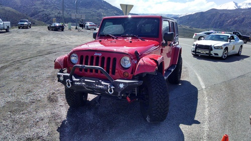 (UHP photo)   Two people died when a car suddenly pulled in front of this Jeep Thursday in Spanish Fork Canyon.
