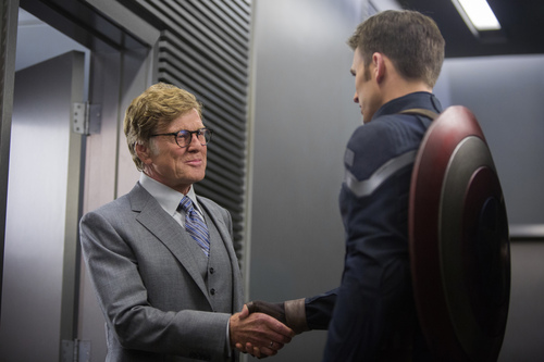"This image released by Marvel shows Robert Redford, left, and Chris Evans in a scene from ""Captain America: The Winter Soldier."" (AP Photo/Marvel-Disney)"