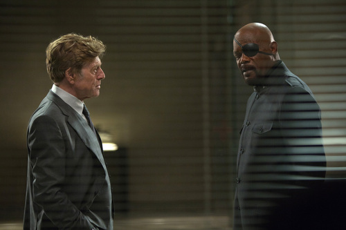 "This image released by Marvel shows Robert Redford, left, and Samuel L. Jackson in a scene from ""Captain America: The Winter Soldier."" (AP Photo/Marvel-Disney)"
