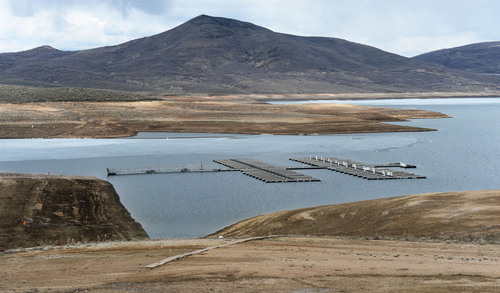 Steve Griffin  |  The Salt Lake Tribune  Low water levels at Jordenelle Reservoir expose the shore line near Heber, Utah Friday, April 4, 2014. The Natural Resources Conservation Service issued its Utah Water supply Outlook report, showing that the water situation is better in northern Utah than southern Utah.