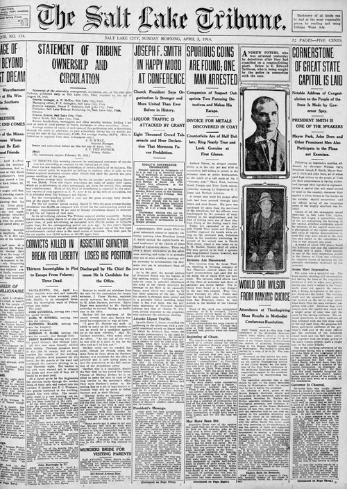 Courtesy Utah Historical Society  The Salt Lake Tribune of April 5, 1914, reports the placement of the Utah Capitol cornerstone.