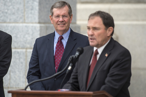 Chris Detrick  |  The Salt Lake Tribune Former Gov. Mike Leavitt listens as Gov. Gary  Herbert speaks during a ceremony marking the 100th anniversary of the laying of the cornerstone of the Utah State Capitol Friday, April 4, 2014.