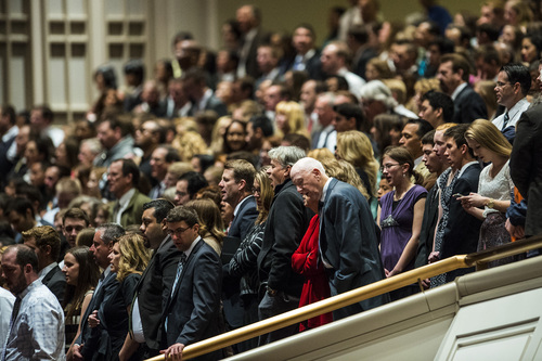 Chris Detrick  |  The Salt Lake Tribune Mormons sing 'Choose the Right' during the morning session of the 184th Semiannual General Conference of The Church of Jesus Christ of Latter-day Saints Saturday April 5, 2014.