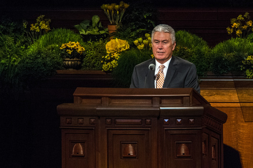 Chris Detrick  |  The Salt Lake Tribune Dieter F. Uchtdorf of the Quorum of the Twelve Apostles, speaks during the morning session of the 184th Semiannual General Conference of The Church of Jesus Christ of Latter-day Saints Saturday April 5, 2014.
