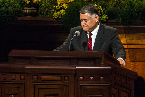 Chris Detrick  |  The Salt Lake Tribune Elder Carlos H. Amado, speaks during the morning session of the 184th Semiannual General Conference of The Church of Jesus Christ of Latter-day Saints Saturday April 5, 2014.