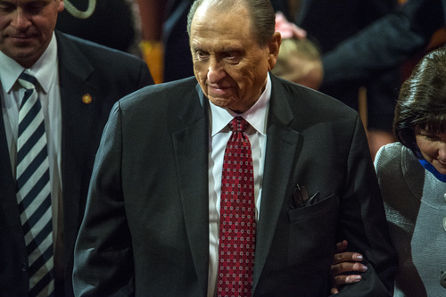 Chris Detrick  |  The Salt Lake Tribune LDS Church President Thomas S. Monson walks off of the stage during the morning session of the 184th Semiannual General Conference of The Church of Jesus Christ of Latter-day Saints Saturday April 5, 2014.