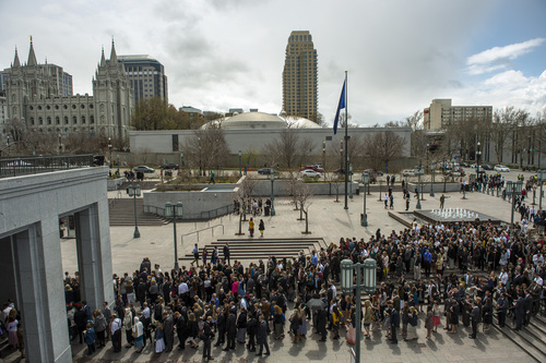 Chris Detrick  |  The Salt Lake Tribune Mormons wait to get inside of the Conference Center before the afternoon session of the 184th Semiannual General Conference of The Church of Jesus Christ of Latter-day Saints Saturday April 5, 2014.
