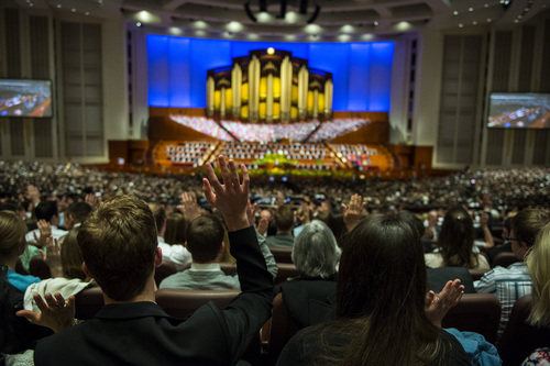 Chris Detrick  |  The Salt Lake Tribune Mormons sustain a vote during the afternoon session of the 184th Semiannual General Conference of The Church of Jesus Christ of Latter-day Saints Saturday April 5, 2014.