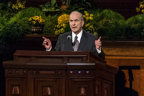 Chris Detrick  |  The Salt Lake Tribune Elder Russell M. Nelson, Quorum of the Twelve Apostles, speaks during the afternoon session of the 184th Semiannual General Conference of The Church of Jesus Christ of Latter-day Saints Saturday April 5, 2014.