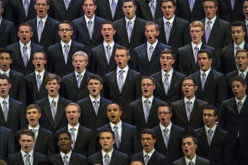 Chris Detrick  |  The Salt Lake Tribune Members of the combined choir from the Orem Institute of Religion sing during the afternoon session of the 184th Semiannual General Conference of The Church of Jesus Christ of Latter-day Saints Saturday April 5, 2014.