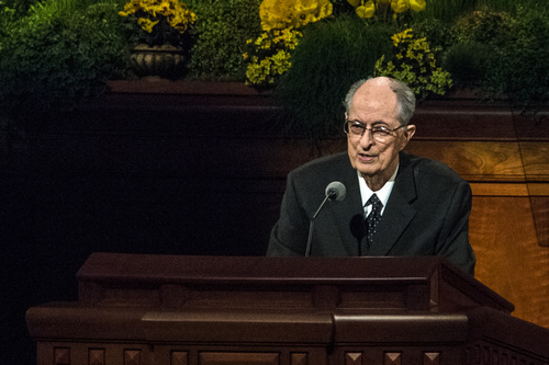 Chris Detrick  |  The Salt Lake Tribune Robert D. Hales, Quorum of the Twelve Apostles, speaks during the afternoon session of the 184th Semiannual General Conference of The Church of Jesus Christ of Latter-day Saints Sunday April 6, 2014.