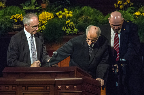 Chris Detrick  |  The Salt Lake Tribune Robert D. Hales, Quorum of the Twelve Apostles, is helped after speaking during the afternoon session of the 184th Semiannual General Conference of The Church of Jesus Christ of Latter-day Saints Sunday April 6, 2014.
