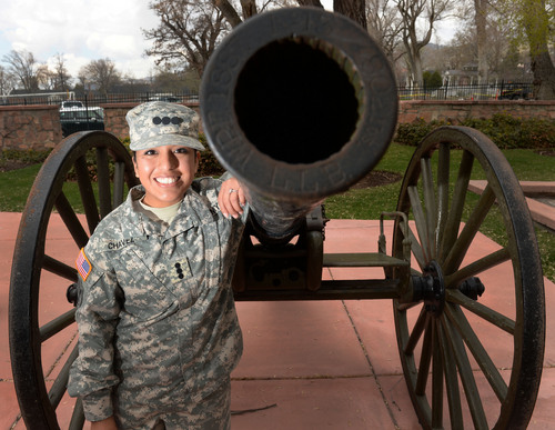 Steve Griffin  |  The Salt Lake Tribune Rosa Chavez, a Westminster student and Army ROTC cadet, is about to become a second lieutenant and will be one of the first women to be a field artillery officer. She is pictured here with a historic piece of field artillery at the Fort Douglas Military Museum in Salt Lake City.