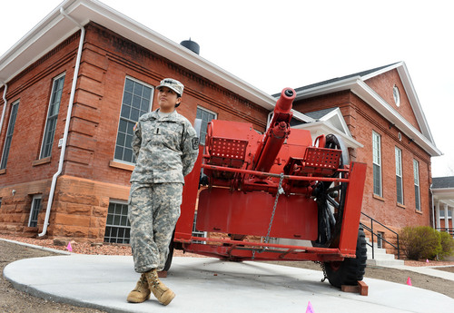 Steve Griffin  |  The Salt Lake Tribune   Rosa Chavez, a Westminster student and University of Utah Army ROTC cadet, is about to become a second lieutenant and will be one of the first women to be a field artillery officer. She is pictured here outside the ROTC building in Fort Douglas in Salt Lake City Thursday, April 3, 2014.