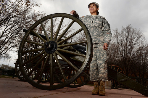 Steve Griffin  |  The Salt Lake Tribune    Rosa Chavez, a Westminster student and Army ROTC cadet, is about to become a second lieutenant and will be one of the first women to be a field artillery officer. She is pictured here with a historic piece of field artillery at the Fort Douglas Military Museum in Salt Lake City Thursday, April 3, 2014.