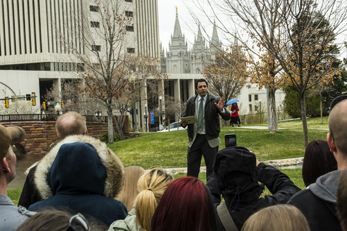 Chris Detrick  |  The Salt Lake Tribune American Atheists President David Silverman speaks to atheists of Utah, ex-Mormons and disaffected, disbelieving Latter-day Saints march around Temple Square after the morning session of the 184th Annual General Conference of The Church of Jesus Christ of Latter-day Saints Sunday April 6, 2014. The American Atheists group is holding its national convention in Salt Lake City in two weeks, April 17-20.