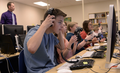 Al Hartmann  |  The Salt Lake Tribune Sixth graders at Fox Hollow Elementary School in Lehi take new computer adaptive SAGE tests on Friday, April 3. Some parents at the school in the Alpine District are having their children opt out, concerned about the content of the questions and other issues.