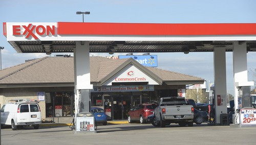 Al Hartmann  |  The Salt Lake Tribune  Common Cents gas station on the southwest corner of Main Street and HIll Field Road in Layton would be affected by a controversial ThrU Turn intersection design on Hill Field Road and Main Street in Layton.