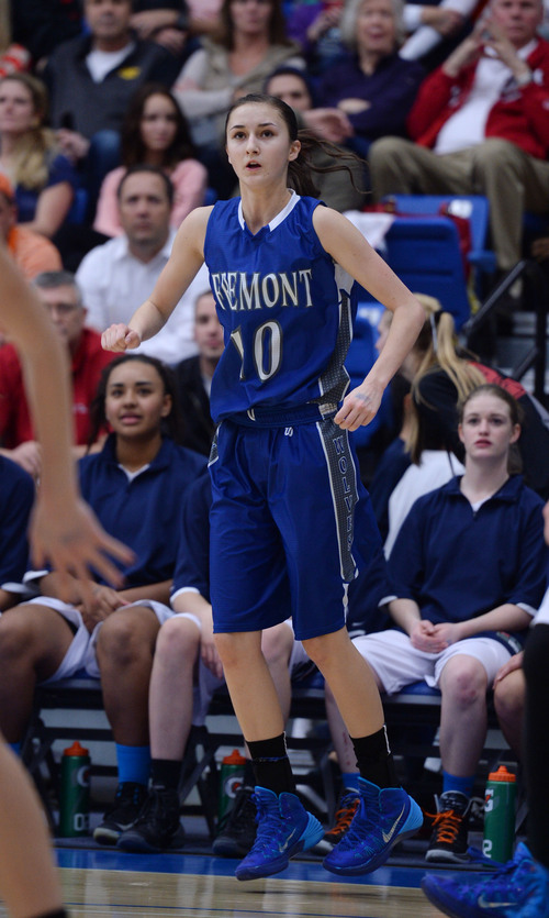 Steve Griffin  |  The Salt Lake Tribune   Fremont's Shelbee Molen watches her three-pointer fall through the basket during 5A semifinal basketball game against Brighton at SLCC Bruin Arena/Lifetime Activities Center in Taylorsville, Utah Friday, February 28, 2014.