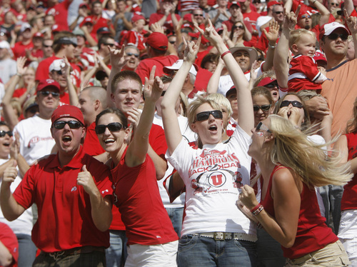 Rick Egan  |  Tribune file photo  Utah fans celebrate early on as the Utes take an early lead against UCLA in 2007.