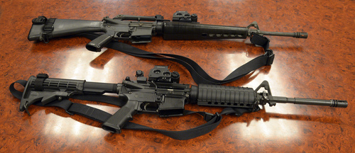 Rick Egan  |  The Salt Lake Tribune An M-16, like the rifle seen at top in this file photo, went missing from the Davis County Sheriff's Office probably sometime before 2006, according to a report. The U.S. Department of Defense provided the rifle. At bottom is a civilian model AR-15.