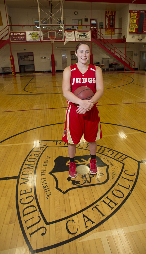 Steve Griffin  |  The Salt Lake Tribune    Judge Memorial Catholic High School basketball player Kailie Quinn in the school's gym in Salt Lake City Thursday, April 3, 2014.