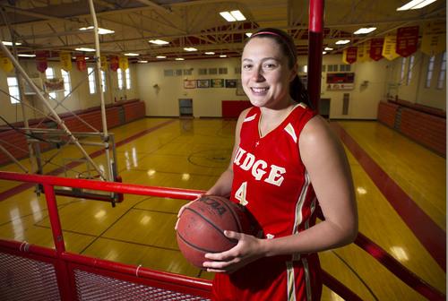 Steve Griffin     The Salt Lake Tribune    Judge Memorial Catholic High School basketball player Kailie Quinn in the school's gym in Salt Lake City Thursday, April 3, 2014.