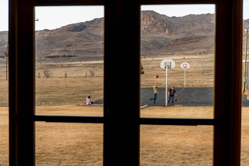 Trent Nelson  |  The Salt Lake Tribune Children play basketball at the Flaming Gorge School in Dutch John, Thursday, March 20, 2014.