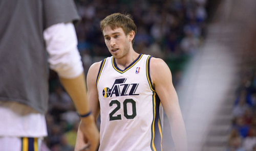 Steve Griffin  |  The Salt Lake Tribune   Utah Jazz guard Gordon Hayward (20) walks off the court after as the Jazz fall to the Mavericks at EnergySolutions Arena in Salt Lake City, Utah Wednesday, April 9, 2014.