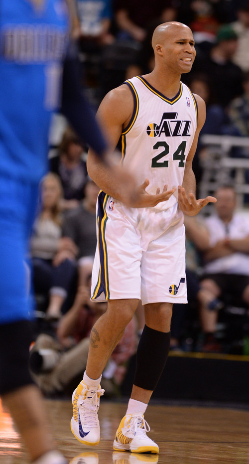 Steve Griffin  |  The Salt Lake Tribune   Utah Jazz forward Richard Jefferson (24) argues with the ref during second half action in the Jazz versus Mavericks NBA basketball game at EnergySolutions Arena in Salt Lake City, Utah Tuesday, April 8, 2014.