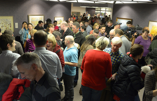 Keith Johnson |  Tribune file photo  Hundreds of people gather outside the Salt Lake County clerks office, Friday, December 20, 2013 waiting to apply for marriage licenses after a federal judge in Utah Friday struck down the state's ban on same-sex marriage, saying the law violates the U.S. Constitution's guarantees of equal protection and due process.