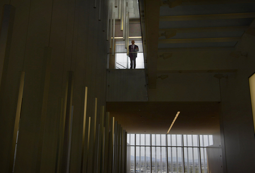 Scott Sommerdorf      The Salt Lake Tribune A security guard stands out from the angular architecture inside the new Salt Lake City federal courthouse, Wednesday, April 9, 2014.