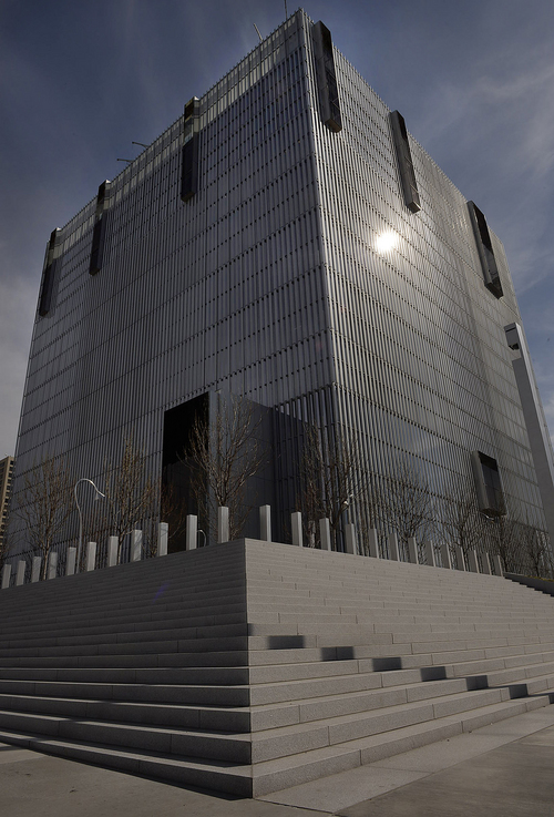 Scott Sommerdorf   |  The Salt Lake Tribune The exterior of the angular, cube-like exterior of the new Salt Lake City federal courthouse, Wednesday, April 9, 2014.
