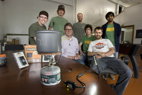 Paul Fraughton  |  The Salt Lake Tribune The production team behind the PowerPot, a device that creates electrical power from heating water in a small camp pot. They are front: Matt Ford, David Toledo, Back left Caleb Light, Kenyon Ellis, Paul Slusser, Riley Swenson and Wafiq Ali.