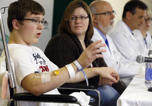 Brett Hurt, 16, a sophomore at Franklin Regional High School in Murrysville, Pa., and a victim in the stabbings that took place on April 9 at his high school, talks about the attack during a news conference at Forbes Regional Hospital, Thursday, April 10, 2014, in Monroeville, Pa. Authorities have charged Alex Hribal, 16, with four counts of attempted homicide and 21 counts of aggravated assault in the attacks. (AP Photo/Keith Srakocic)