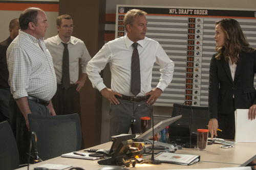"This image released by Summit Entertainment shows Kevin Costner, center, and Jennifer Garner, right, in a scene from ""Draft Day."" (AP Photo/Summit Entertainment, Dale Robinette)"