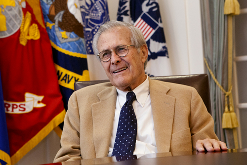 Former Secretary of Defense Donald Rumsfeld speaks at the Gerald R. Ford Presidential Museum in Grand Rapids, Mich., on Tuesday, Sept. 3, 2013.  (AP Photo/The Grand Rapids Press, Emily Zoladz)