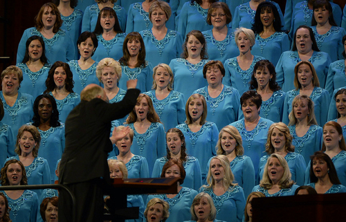 Scott Sommerdorf   |  The Salt Lake Tribune The Mormon Tabernacle Chir sings to end the morning session of the 184th General Conference of the Church of Jesus Christ of Latter Day Saints, Sunday, April 6, 2014.