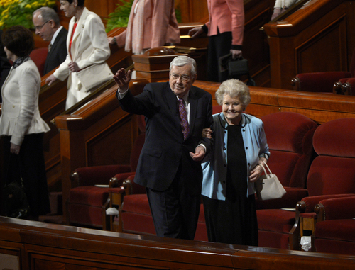 Scott Sommerdorf   |  The Salt Lake Tribune M. Russell Ballard and his wife Barbara leave at the end of the morning session of the 184th General Conference of the Church of Jesus Christ of Latter Day Saints, Sunday, April 6, 2014.