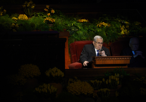 Scott Sommerdorf   |  The Salt Lake Tribune President Boyd K. Packer speaks from his chair instead of the usual stand-up podium at left during the afternoon session of the 184th General Conference of the Church of Jesus Christ of Latter Day Saints, Sunday, April 6, 2014.